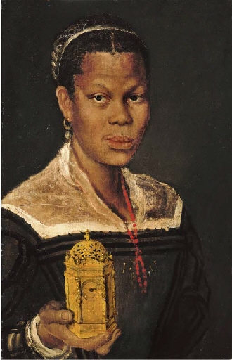 Carracci Annibale | Portrait of a black lady, bust-length, wearing ...