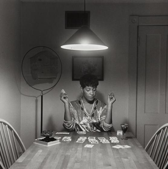 Carrie Mae Untitled Woman Playing Solitaire From The Kitchen Table 1990 Mutualart
