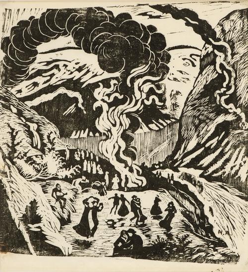 Nikolai Astrup | Midsummer Night Bonfire (1917) | MutualArt