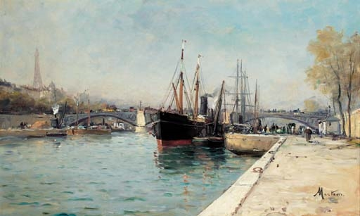 Mertens Charles Shipping On The Seine At Le Pont D Alma