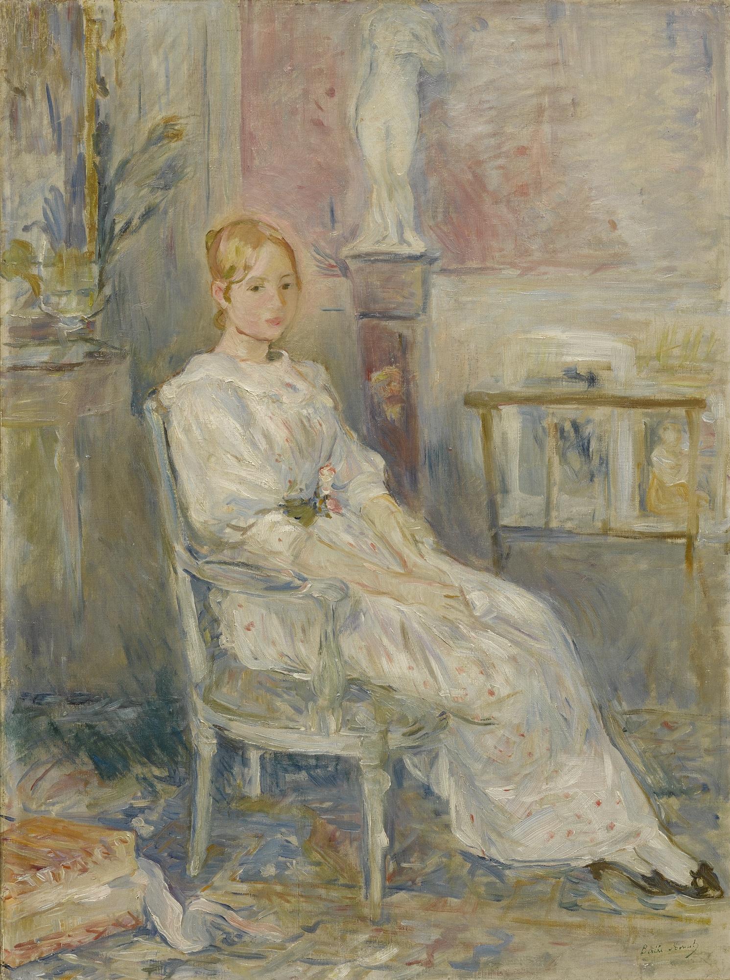 Morisot Berthe | Alice Gamby dans le salon (1890) | MutualArt
