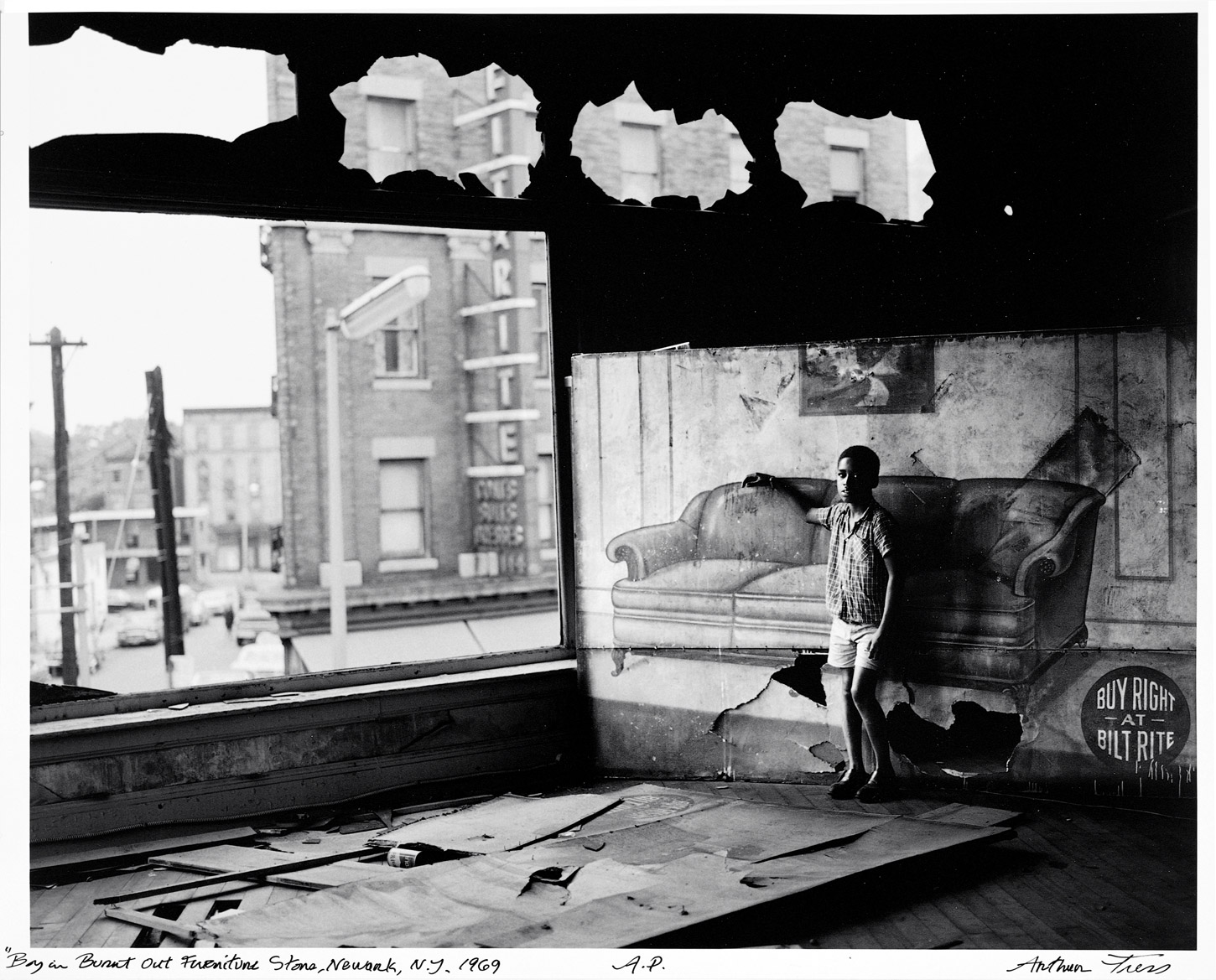 Arthur Tress Boy In Burnt Out Furniture Store