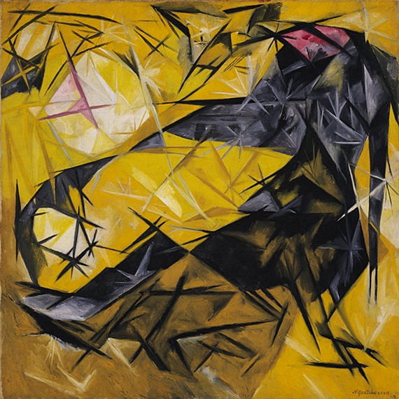 Artwork by Natalia Goncharova, Cats (rayist percep.[tion] in rose, black, and yellow), Made of Oil on canvas