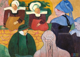 Breton Women at a Wall By Emile Bernard ,1892