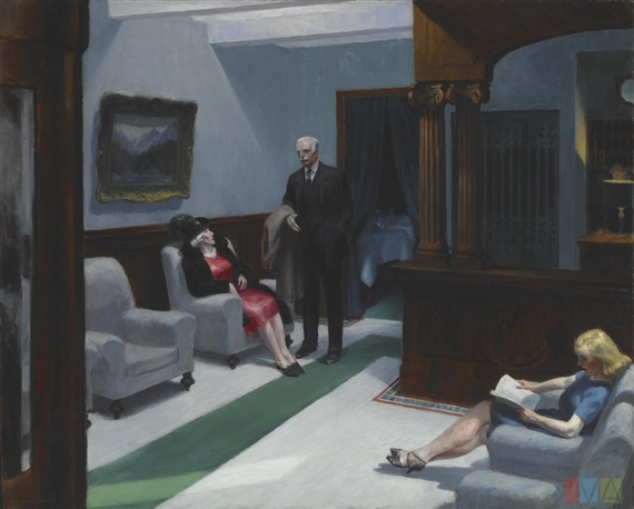 Artwork by Edward Hopper, Hotel Lobby, Made of oil on canvas
