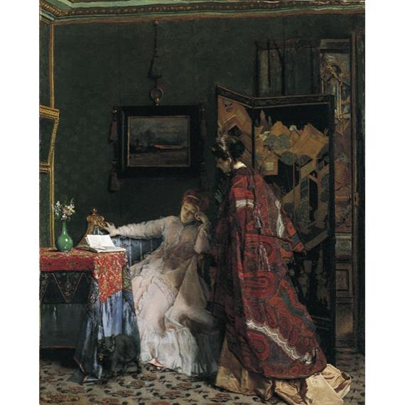 Artwork by Alfred Stevens, The Visit (La Visite), Made of Oil on canvas