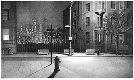 Artwork by Stow Wengenroth, New York Nocturne, Made of Lithograph on white wove paper