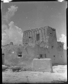 Artwork by Edward S. Curtis, Watchtower, Paguate Village, Laguna Pueblo, New Mexico, Made of film negative