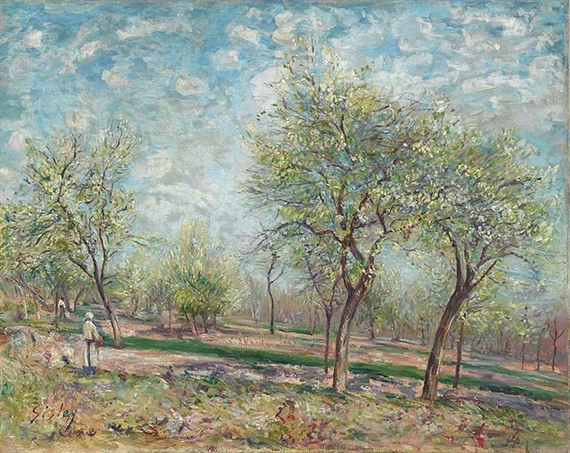 Artwork by Alfred Sisley, Apple Trees in Bloom, Made of oil on canvas