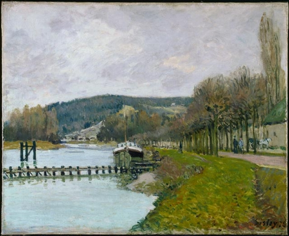Artwork by Alfred Sisley, The Slopes of Bougival, Made of oil on canvas