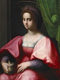 Artwork by Domenico Puligo, Portrait of a Woman as the Magdalen, Made of oil on wood, transferred to canvas