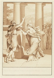 Artwork by Jean-Michel Moreau, Dido Excoriates Aeneas, from Book IV of the Aeneid, Made of Pen and brown ink and brown wash