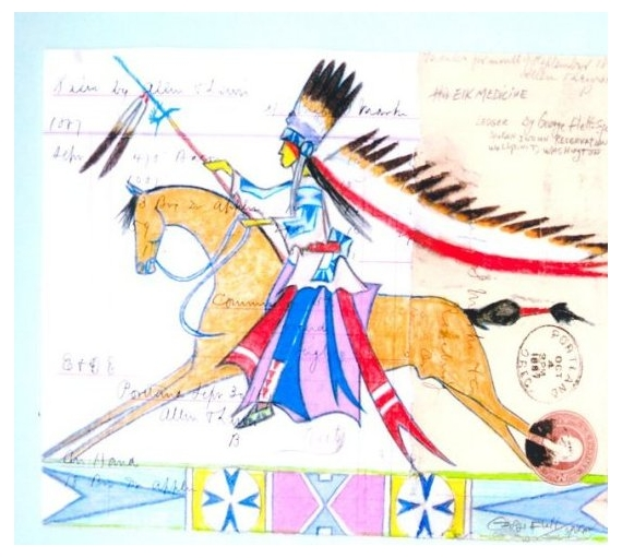 Ledger Art Of Elk : Artworks of george flett native american