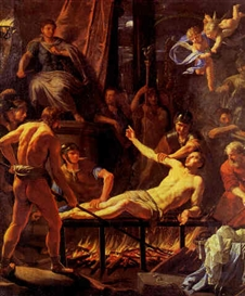 Artwork by Jean-Baptiste de Champaigne, Le Martyr de Saint Laurent, Made of Oil on Canvas