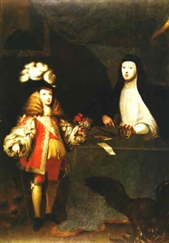 Artwork by Sebastian de Herrera Barnuevo, Retrato de Carlos II nino con su madre la Reina Mariana de Austria, Made of Oil on Canvas