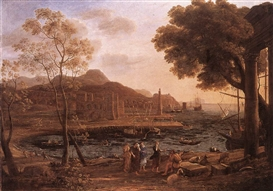 Artwork by Claude Lorrain, Harbour Scene with Grieving Heliades, Made of Oil on canvas