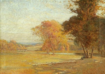 Shepherd and Flock in Autumn By Frederick J. Mulhaupt