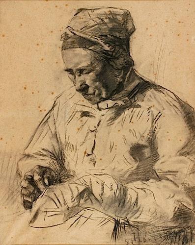 Artwork by Henri de Toulouse-Lautrec, LA RAVAUDEUSE, Made of Charcoal drawing on paper