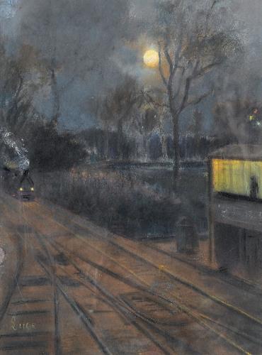 Artwork by Maximilien Luce, Le chemin de fer de ceinture de Paris, Made of Pastel