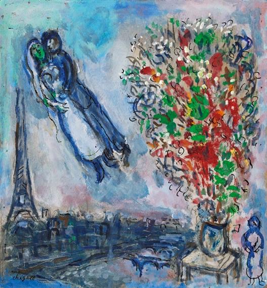 Chagall Marc   Les Mariés dans le Ciel de Paris (1970)   MutualArt