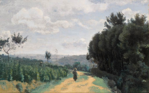 Artwork by Jean Baptiste Camille Corot, LES HAUTEURS DE SèVRES - LE CHEMIN TROYON, Made of oil on canvas