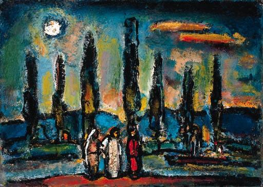 Artwork by Georges Rouault, Paysage biblique (aux sept arbres)