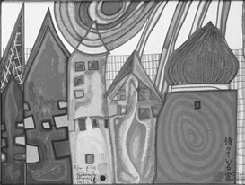 Artwork by Friedensreich Hundertwasser, Waiting Houses (K. 37)