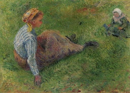 Artwork by Camille Pissarro, Paysanne assise et enfant