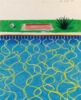David Hockney Drawing Of A Pool And Towel