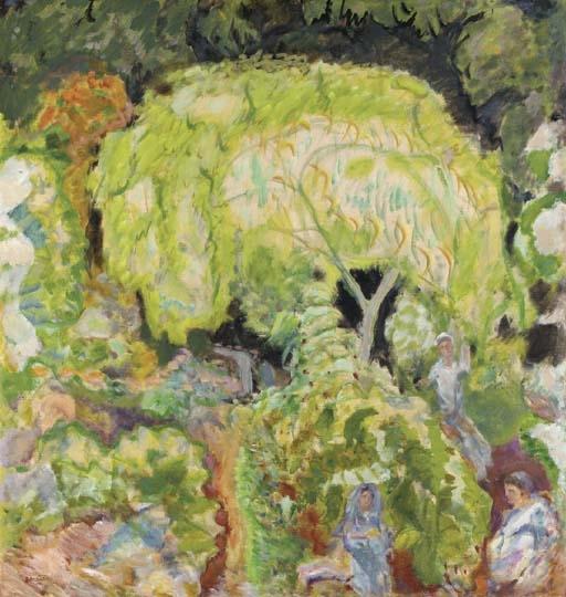 Artwork by Pierre Bonnard, Paysage à trois personnages et saule (Etude pour la décoration 'L'Automne, les vendanges'), Made of oil on canvas