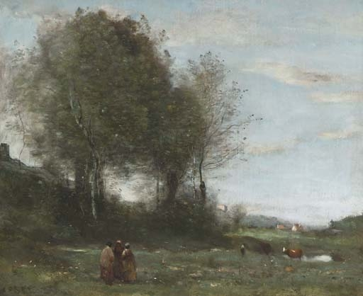 Artwork by Jean Baptiste Camille Corot, Trois paysannes dans un pré, souvenir de Bretagne, Made of oil on canvas