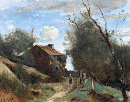 Artwork by Jean Baptiste Camille Corot, Chemin conduisant vers une maison dans la campagne, Made of oil on canvas
