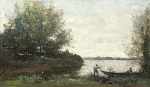 Artwork by Jean Baptiste Camille Corot, Le pêcheur et le batelier, Made of oil on canvas