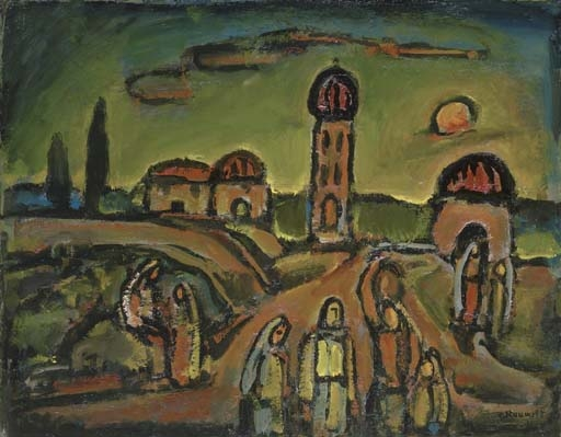 Artwork by Georges Rouault, Paysage avec figures, Made of oil on board laid down on cradled panel