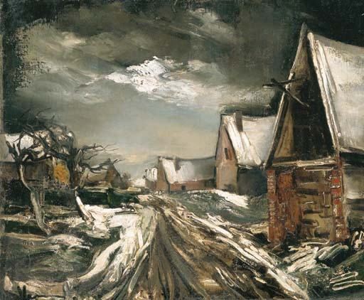 Artwork by Maurice de Vlaminck, Rue de village en hiver, Made of oil on canvas