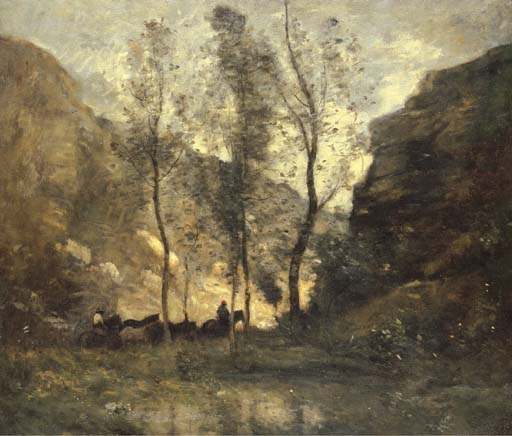Artwork by Jean Baptiste Camille Corot, Les Contrebandiers, Made of oil on canvas