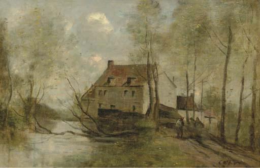 Artwork by Jean Baptiste Camille Corot, Planque, prés Douai-Le Moulin Brulé, Made of oil on canvas