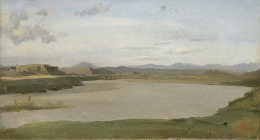 Artwork by Jean Baptiste Camille Corot, Acqua Acetosa (bords du Tibre dans la campagne de Rome), Made of oil on paper, laid down on canvas