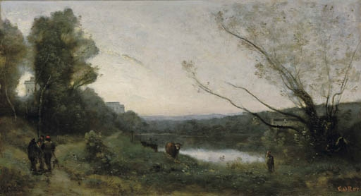 Artwork by Jean Baptiste Camille Corot, Rives d'un étang, Made of oil on canvas