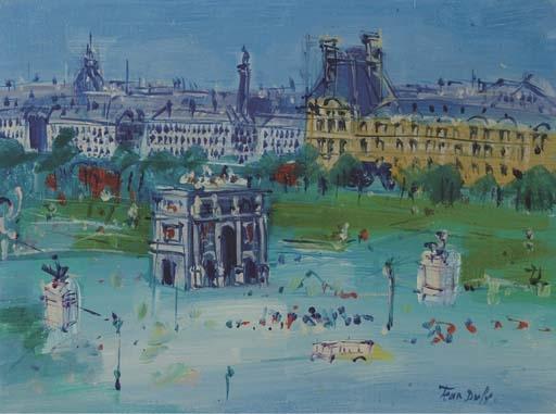 Jean dufy cavaliers au bois oil on canvas for Arc de jardin en bois