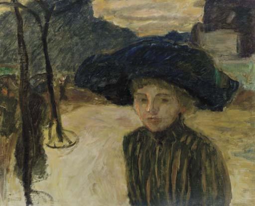 Artwork by Pierre Bonnard, La femme au chapeau bleu, Made of oil on canvas
