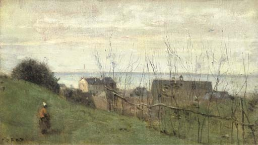 Artwork by Jean Baptiste Camille Corot, Le Tréport, maison dominant la mer, Made of oil on canvas