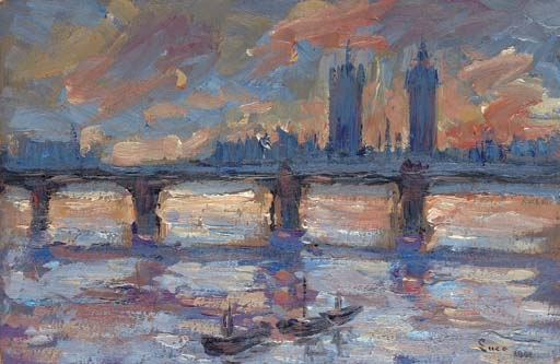 Artwork by Maximilien Luce, Londres, la Tamise, le soir, Made of oil on board