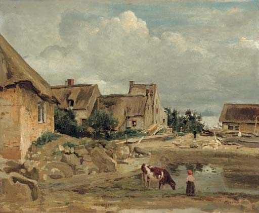 Artwork by Jean Baptiste Camille Corot, Environs de Fontainebleau, une cour de ferme, Made of oil on canvas