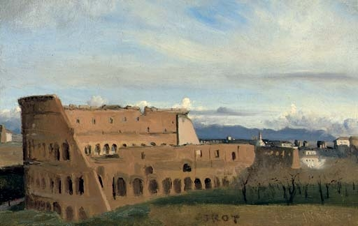Artwork by Jean Baptiste Camille Corot, Le Colisée, Made of oil on paper laid down on canvas