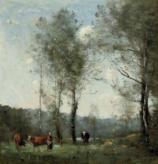 Artwork by Jean Baptiste Camille Corot, Ville D'Avray, Gardeuse de vaches dans une clairière près de l'Étang, Made of oil on panel