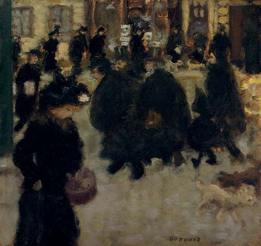 Artwork by Pierre Bonnard, Personnages dans la rue, Made of oil on paper laid down on board