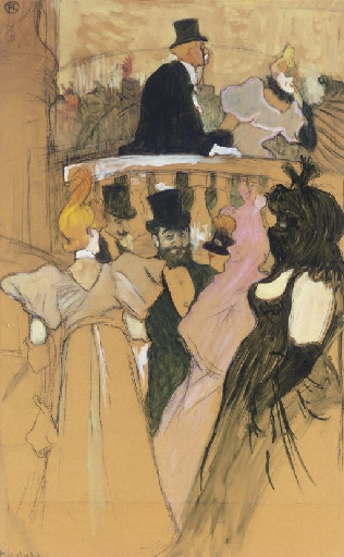 Artwork by Henri de Toulouse-Lautrec, Au bal de l'opéra, Made of oil, charcoal and gouache on joined paper laid down on panel