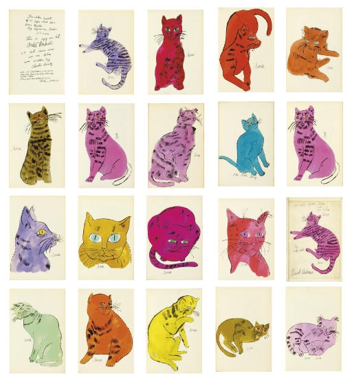 Andy Warhol,  25 Cats Name[d] Sam and One Blue Pussy , New York, The Artist, circa 1954, (Feldman & Schellmann IV.52A-68A)