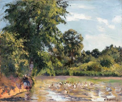 Artwork by Camille Pissarro, La mare aux canards à Montfoucault